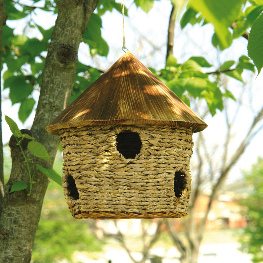 Casetta per uccellini in paglia con tetto in legno cucce - Casette per uccellini da costruire ...