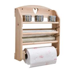 Organizzatore porta-rotoli cucina in legno