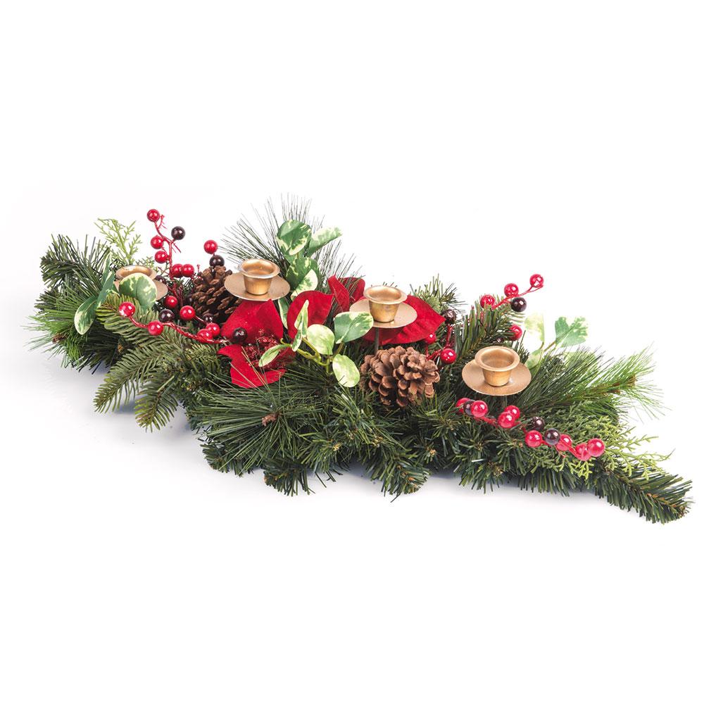 Centrotavola natalizio con porta candele decorazioni per - Centro tavola natalizio con pigne ...